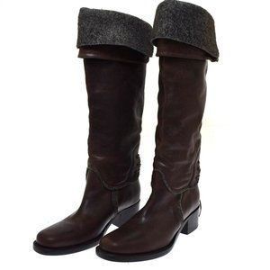 Buttero Brown Leather Gray Accents Tall Cuff Roll Down Boots 40 US 10 NEW